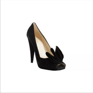 Authentic Prada black suede ruffle peep toe pumps